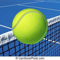 концепция, над, развлекательный, спорт, живой, lifestyle., суд, поместиться, летающий, exercising, здоровье, сеть, забота, упражнение, мяч, большой теннис, символ, досуг, значок, взаимозачет, фитнес, или