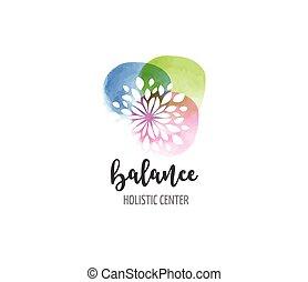 концепция, оздоровительный, йога, -, акварель, лекарственное средство, вектор, значок, логотип, альтернатива, медитация, дзэн