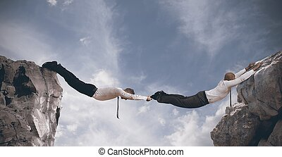 концепция, партнерство, bridge., бизнес