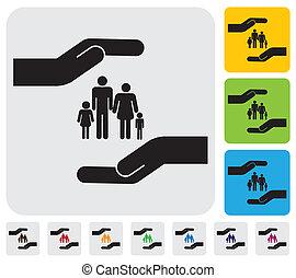 концепция, семья, просто, graphic., сын, protecting, страхование, children)-, &, личный, здоровье, мама, безопасность, represents, иллюстрация, рука, отец, дочь, это, и т.д, вектор, family(parents