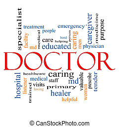 концепция, слово, облако, врач