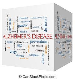 концепция, слово, alzheimer's, болезнь, куб, облако, 3d