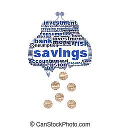 концепция, сломанный, символ, isolated, бумажник, экономия, белый