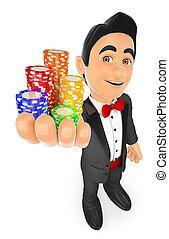 концепция, смокинг, казино, chips., человек, делать ставку, 3d