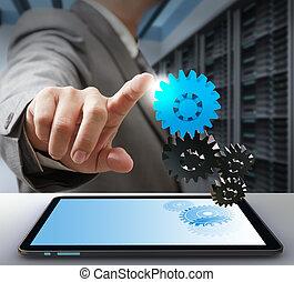 концепция, шестерня, бизнес, solution, компьютер, трогать, человек
