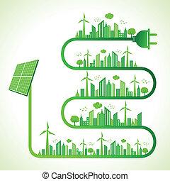 концепция, экология, солнечный, панель