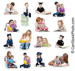 концепция, book., или, рано, kids, коллекция, babies, childhood., образование, чтение