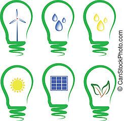 концепция, symbolizing, альтернатива, энергия