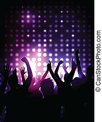 концерт, толпа, -, cheering, вектор, задний план