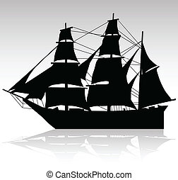 корабль, вектор, старый, silhouettes, парусный спорт