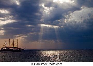 корабль, закат солнца