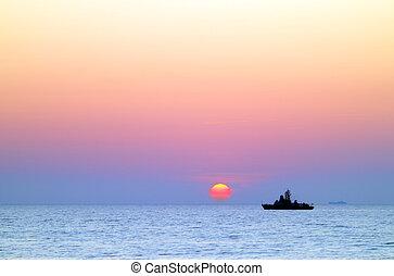 корабль, закат солнца, море