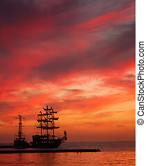 корабль, закат солнца, силуэт
