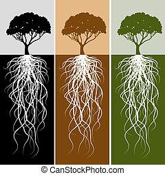 корень, задавать, баннер, вертикальный, дерево