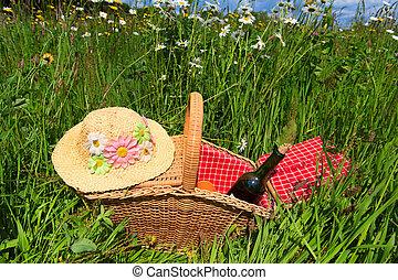 корзина, лето, цветок, пикник, поле