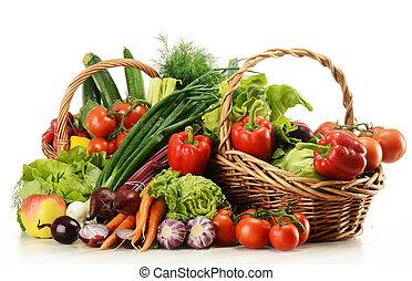 корзина, плетеный, vegetables, состав, сырье
