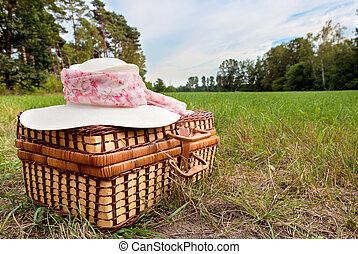 корзина, солома, пикник, шапка