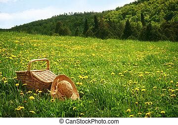 корзина, трава, пикник