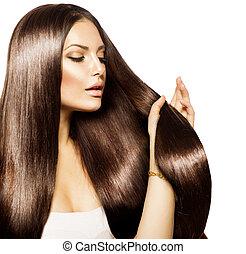 коричневый, женщина, красота, ее, здоровый, длинные волосы, трогательный