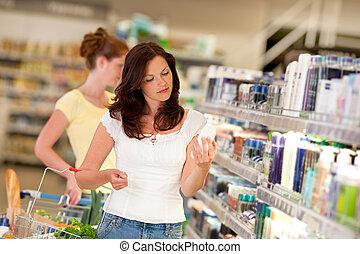 коричневый, женщина, поход по магазинам, серии, -, волосы, cosmetics, отдел