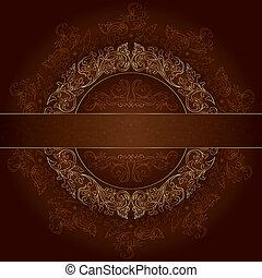 коричневый, золото, марочный, рамка, patterns, задний план, цветочный