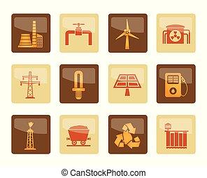 коричневый, мощность, icons, электричество, промышленность, задний план, над