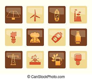 коричневый, мощность, icons, электричество, энергия, задний план, над