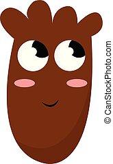 коричневый, eyes, монстр, цвет, большой, иллюстрация, вектор, или