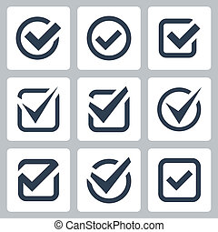 коробка, вектор, задавать, проверить, icons