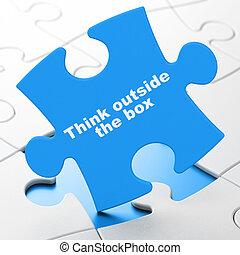 коробка, головоломка, за пределами, задний план, образование, думать, concept: