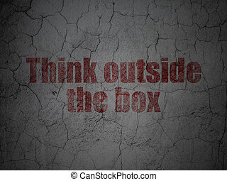 коробка, гранж, стена, за пределами, задний план, образование, думать, concept: