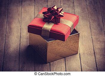коробка, деревянный, рождество, подарок, таблица