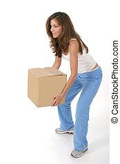коробка, женщина, 2, lifting