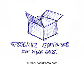 коробка, за пределами, думать