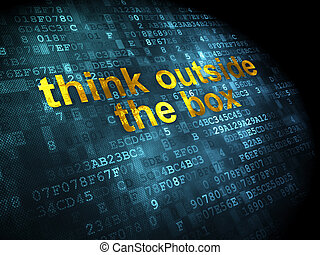 коробка, за пределами, задний план, цифровой, образование, думать, concept: