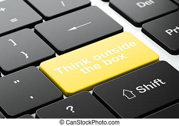 коробка, за пределами, компьютер, задний план, клавиатура, образование, думать, concept: