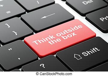 коробка, за пределами, компьютер, клавиатура, образование, думать, concept: