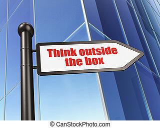 коробка, здание, знак, за пределами, задний план, образование, думать, concept: