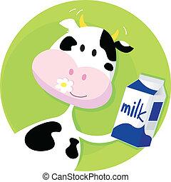 коробка, зеленый, молоко, корова, счастливый