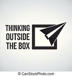 коробка, концепция, рамка, isolated, иллюстрация, думать, background., за пределами, вектор, белый, plane.