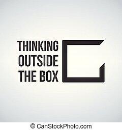 коробка, концепция, рамка, isolated, иллюстрация, background., за пределами, вектор, белый, думать