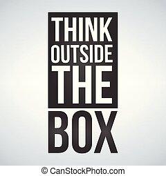 коробка, концепция, isolated, иллюстрация, background., за пределами, вектор, белый, думать