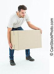коробка, курьер, человек, picking, вверх, картон