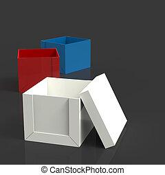 коробка, мышление, за пределами, концепция, темно