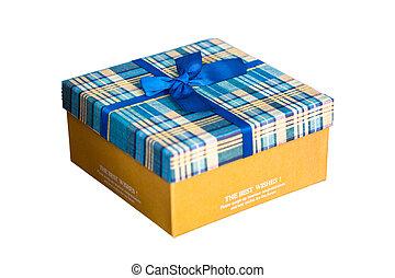 коробка, подарок, isolated, задний план, белый, настоящее время