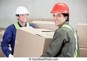 коробка, склад, картон, foremen, lifting