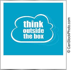 коробка, слово, бизнес, концепция, фото, рамка, isolated, за пределами, белый, думать