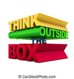 коробка, текст, за пределами, думать