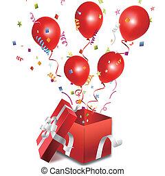 коробка, balloons, открытый, подарок, вне