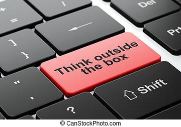 коробка, studying, за пределами, компьютер, задний план, клавиатура, думать, concept: